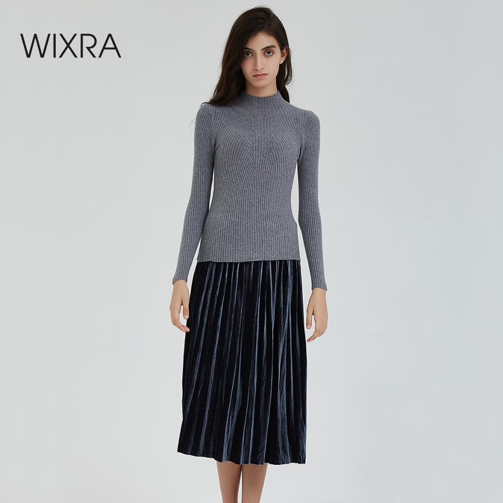 Wixra nouveau chaud chaud tricoté pull à col roulé mode femmes automne hiver haute Stretch à manches longues chandails pulls pulls