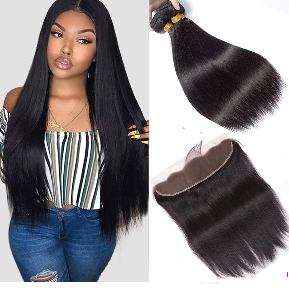 BeauHair Brazilian Straight Bundles With Lace Frontal 13x4 Lace Frontal Non- Remy HairExtensions Human Hair Bundles With Closure