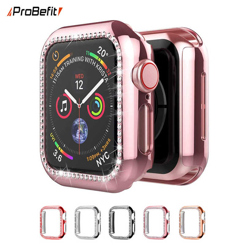 Coque de protection en diamant, scintillante pour Apple Watch série 6 SE 5 4 3 2 1 38MM 42MM Iwatch 40mm 44mm, TPU souple