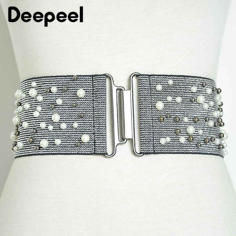 Deepeel 1pc 8cm*80-100cm Women Pearl Rivets Cummerbunds Silver/Black Elastic Wide Decoration Girdle For Dress Lover Gift CB646