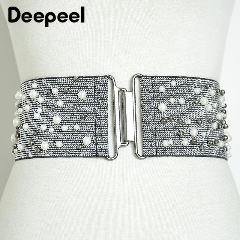 Deepeel 1pc 8cm*80-100cm Women Pearl Rivets Cummerbunds Silver/Black Elastic Wide Decoration Girdle For Dress Lover Gift CB646
