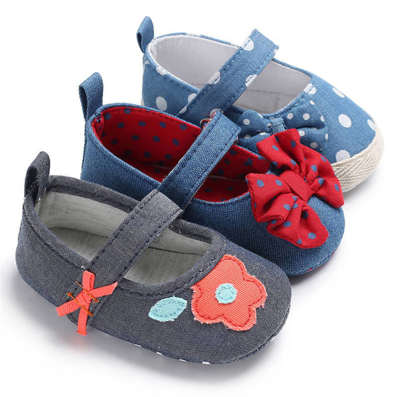Newborn Shoes Baby Girl Infant Lovely Butterfly-knot Sunflower Soft Cotton Sole First Walkers Toddler Girl Moccasins Crib Shoes