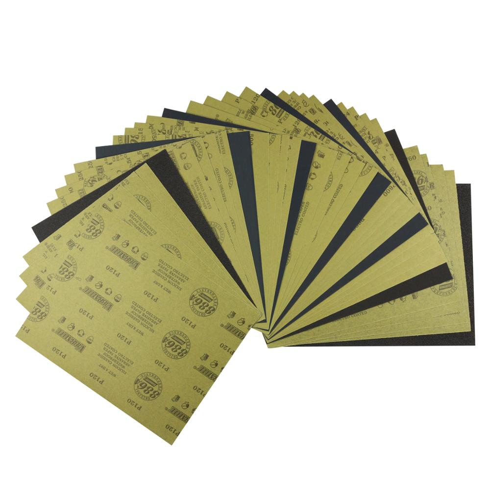 Wet Dry Sandpaper 60 to 2500 Grit Assortment Abrasive Paper Sheets For Automotive Sanding Wood Furniture Finishing.35 Pcs mixing(China)