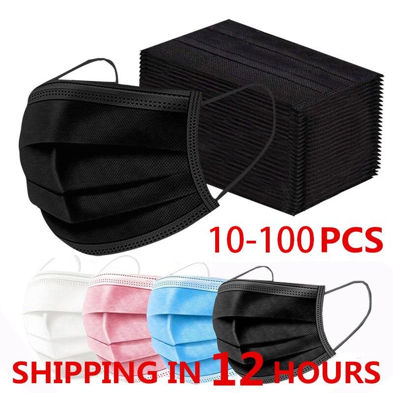 10-100 шт. маски для лица, рта анти газ пыли 3 слоя изготовленный аэродинамическим способом по технологии Тканевая маска тушь для ресниц Mascarillas ...