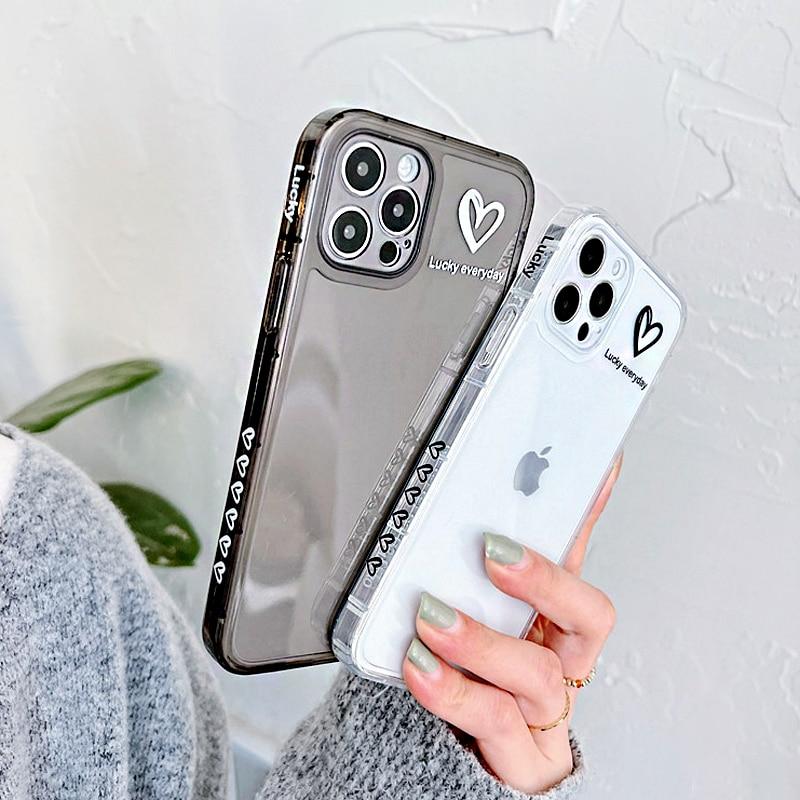 Простой милый прозрачный чехол для телефона с сердечками для iPhone 11 12 Pro X XR XS Max 7 8 Plus SE 2020 противоударный мягкий силиконовый чехол