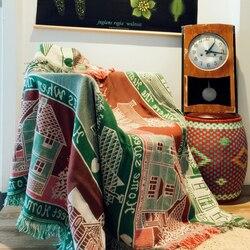 Czystej bawełny Retro dywan cienki koc etniczne sztuki sofa ręcznik narzuta salon sypialnia filce gobelin 125X150 CM w Narzuty od Dom i ogród na