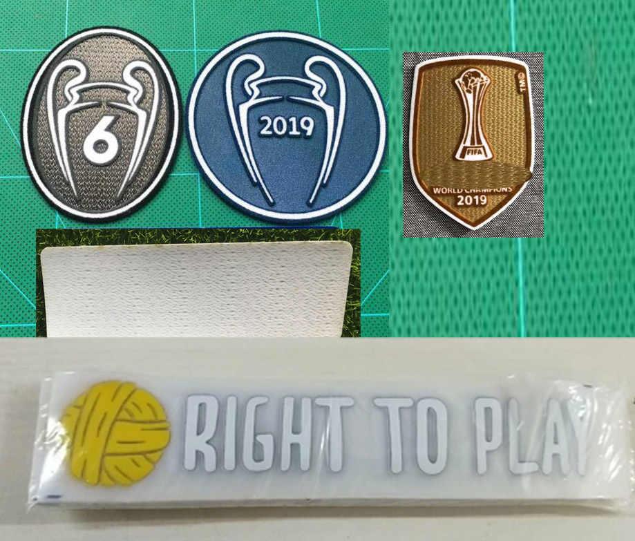 2019 Champions Patch Ucl Badge En 6 Cups En Rechts Te Spelen Sponsor Voetbal Patch Badge