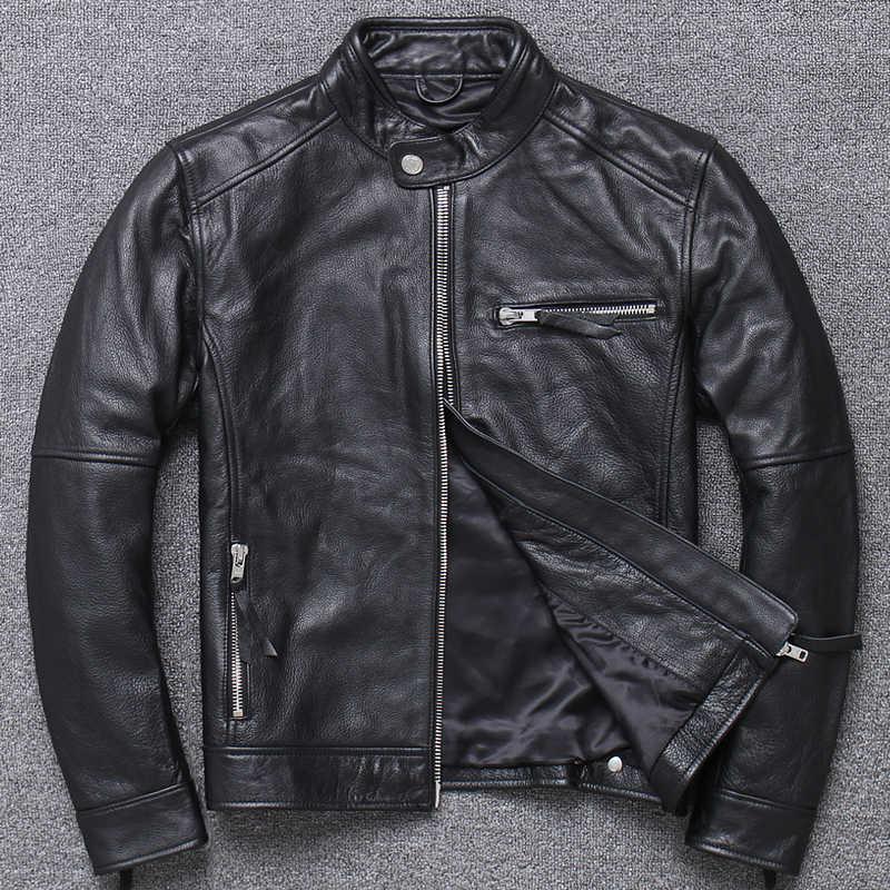100% jaqueta de couro genuíno dos homens roupas 2020 outono inverno real ajuste de couro vaca jaquetas plus size 4xl casaco jaqueta de couro 094b