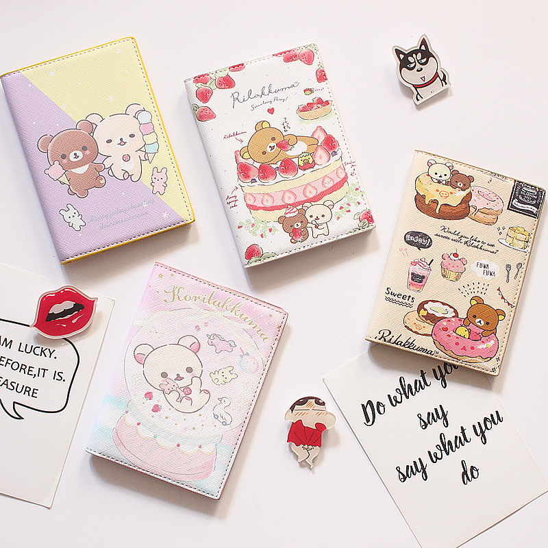 Cute Cartoon Bears Passport Cover Women Travel Wallet Soft Pu Leather Covers For Passports Document Holder Paspoort Protective