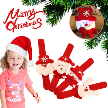Christmas Patting Circle Bracelet Watch Xmas Children Gift Santa Claus Snowman Deer New Year Party Toy Wrist Decoration 2 image