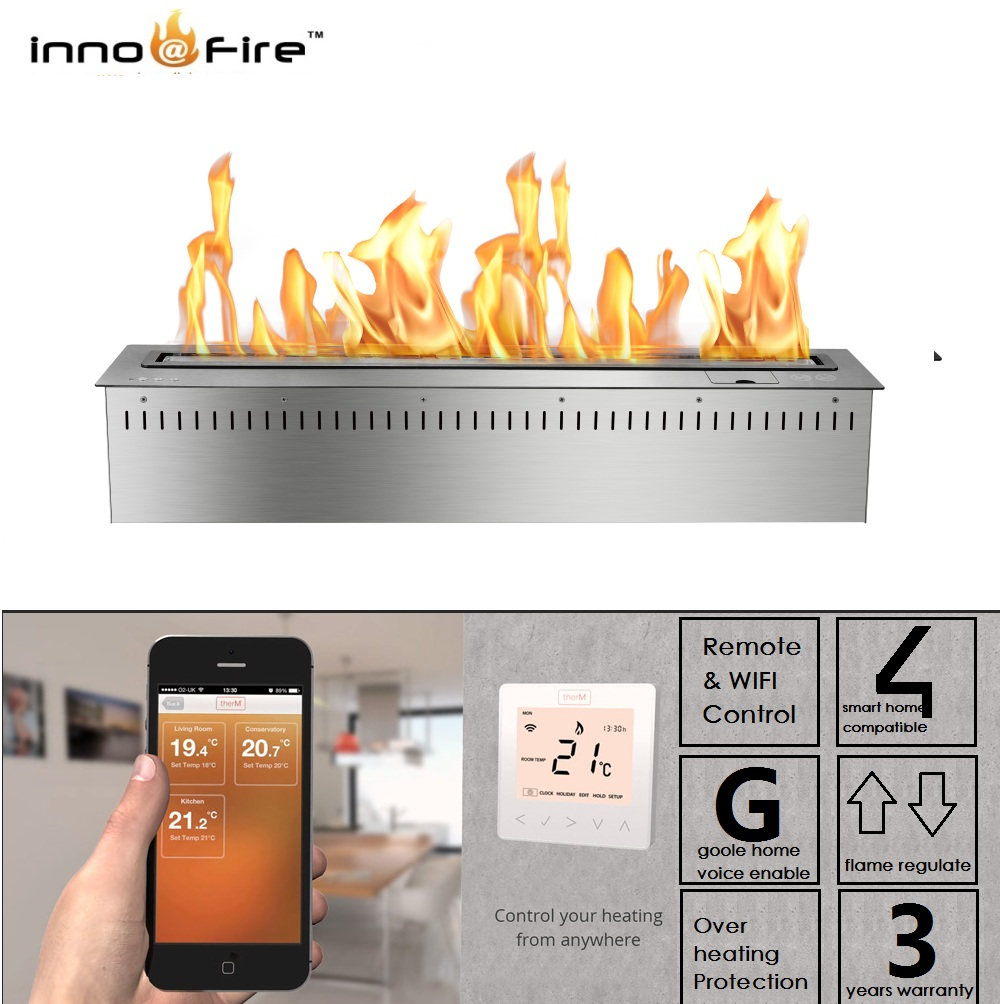 Inno Living 24 Inch Black & Silver Bio Fireplace Remote Control