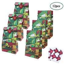 цена на O-heart 12Pcs Safari Paper Gift Bags Dinosaur Birthday Party Decorations Sweet Gifts Box Dino Theme Baby Shower Packing Bags