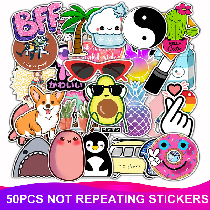 50pcs/Pack Cartoon Animal Fruit Stickers PVC Waterproof Laptop Suitcase Motorcycle Car Styling DIY Decoration Funny Sticker Toy
