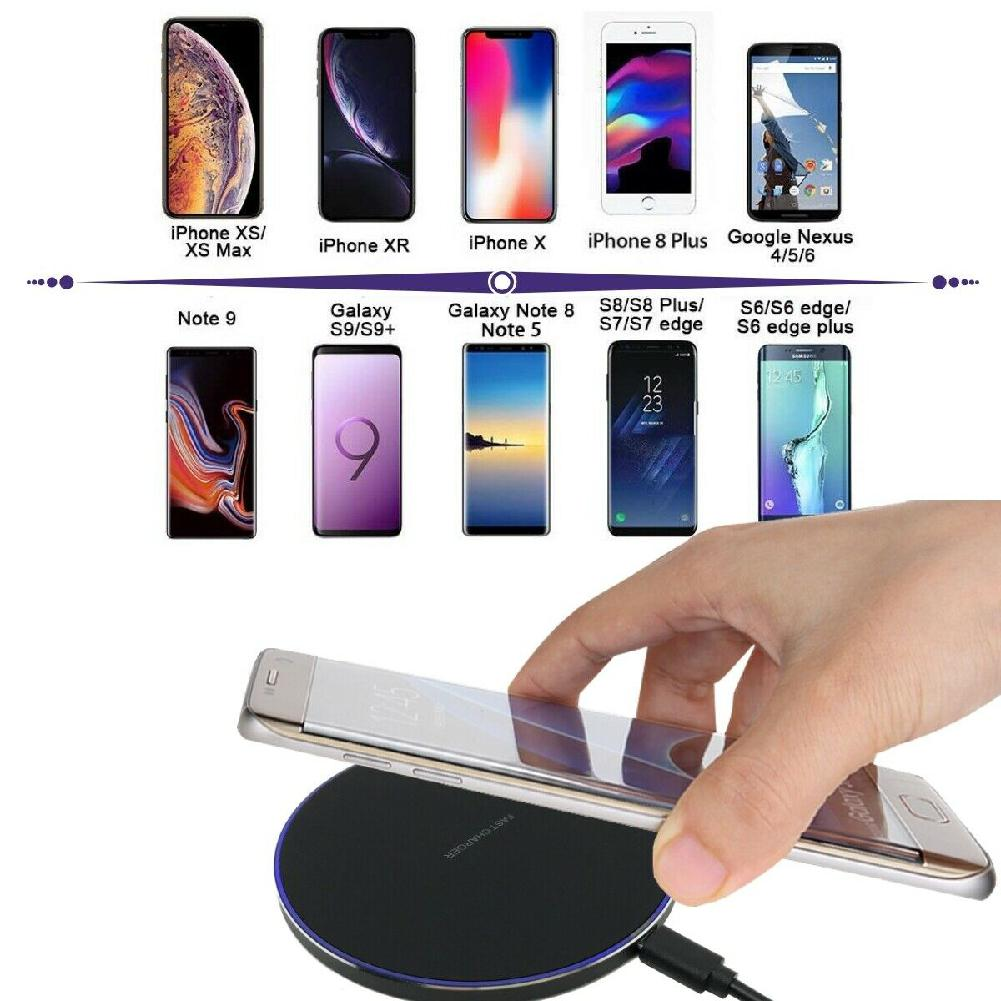 US $8.22 58% OFF|10W Fast Wireless Charger For Samsung Galaxy S10 S9S9+ S8 Note 9 USB Qi Charging Pad for iPhone 11 Pro XS Max XR X 8 Plus|Mobile