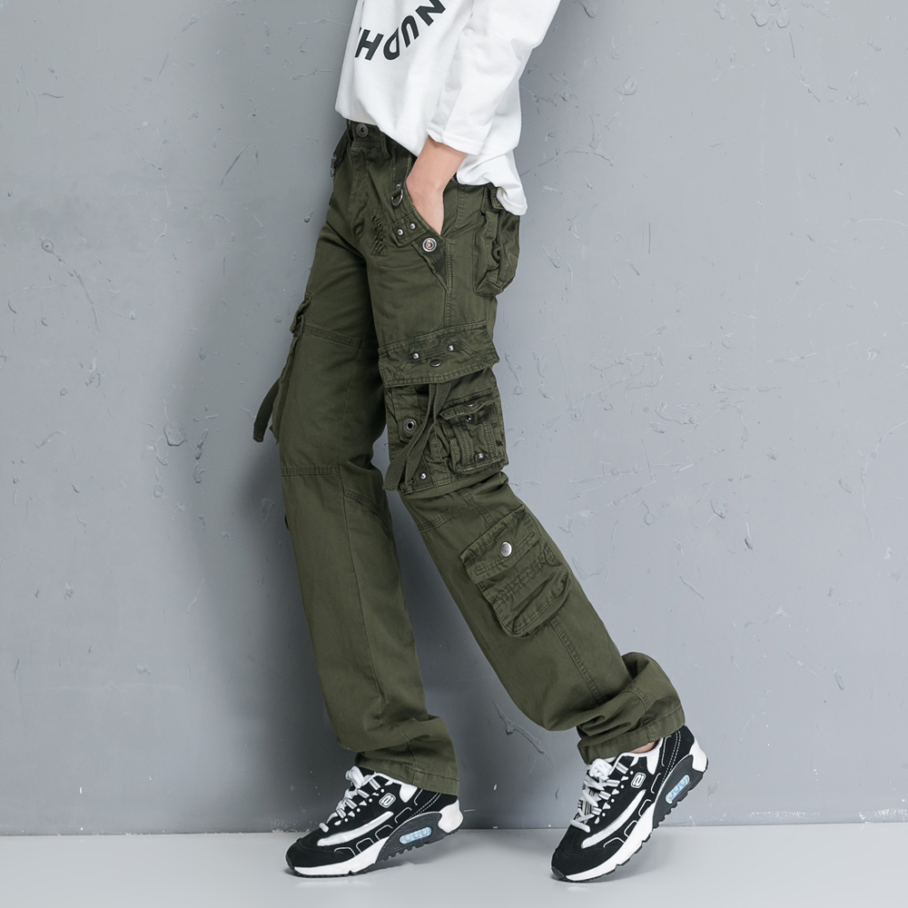 Cargo Pants New Women White Dance Trousers Women Hip Hop Loose Jeans Multi-Pockets Baggy Overalls Pants Pantalones Mujer