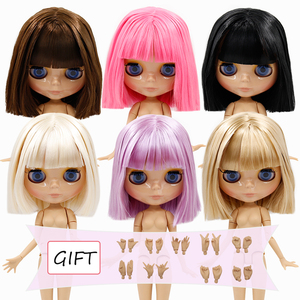 DBS BJD Blyth doll joint body short oil hair and Tan skin glossy faceblack matte face special price icy Licca toy girl gift 1/6