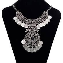 1 pc moda 51cm duplo corrente moeda colar de instrução menina boêmio festival colares jóias feminino 46 + 5cm / 18.1
