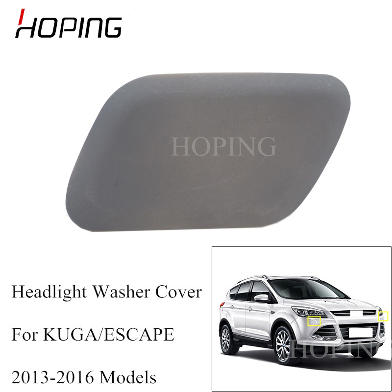 A Pair Black Front Bumper Headlight Washer Cover Cap For 2013-2016 Ford Kuga