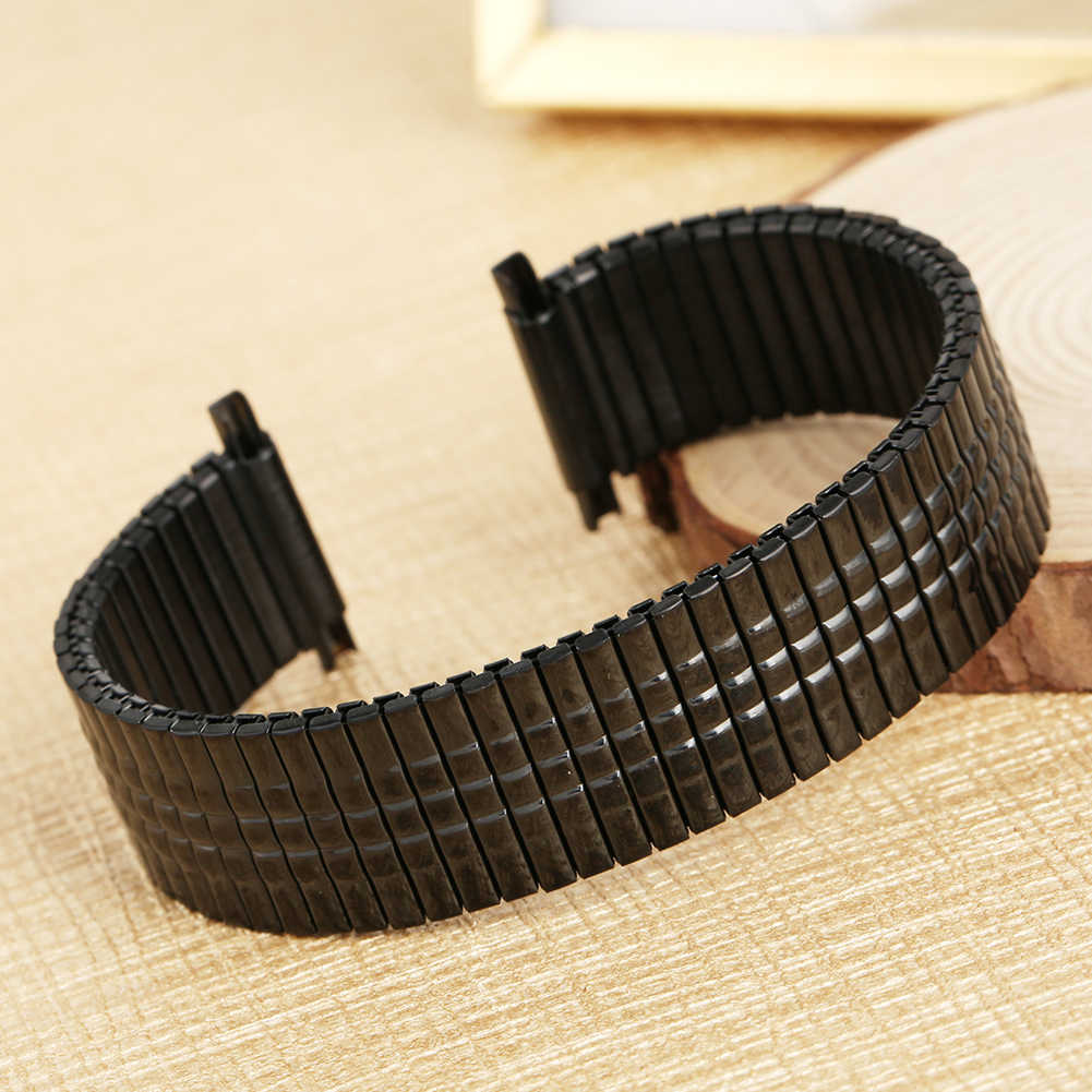 Premium Silver/Black Stainless Steel Watch Band No Buckle Elastic Watches Stretchable Strap Metal Replacement Wristwatch Band
