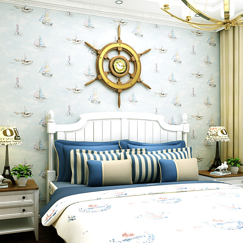 Environmentally Friendly Nonwoven Fabric CHILDREN'S Room Wallpaper Boy Bedroom Room Wallpaper Cartoon Sailboat Light Blue Medite
