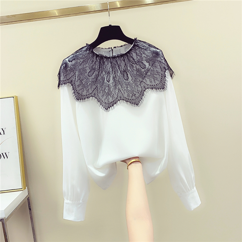 Lace Hit Color Stitching Shirt Women's 2020 Spring New Long-Sleeve Chiffon Shirt Blouse Womens Blouse And Tops Ropa Mujer Blusas