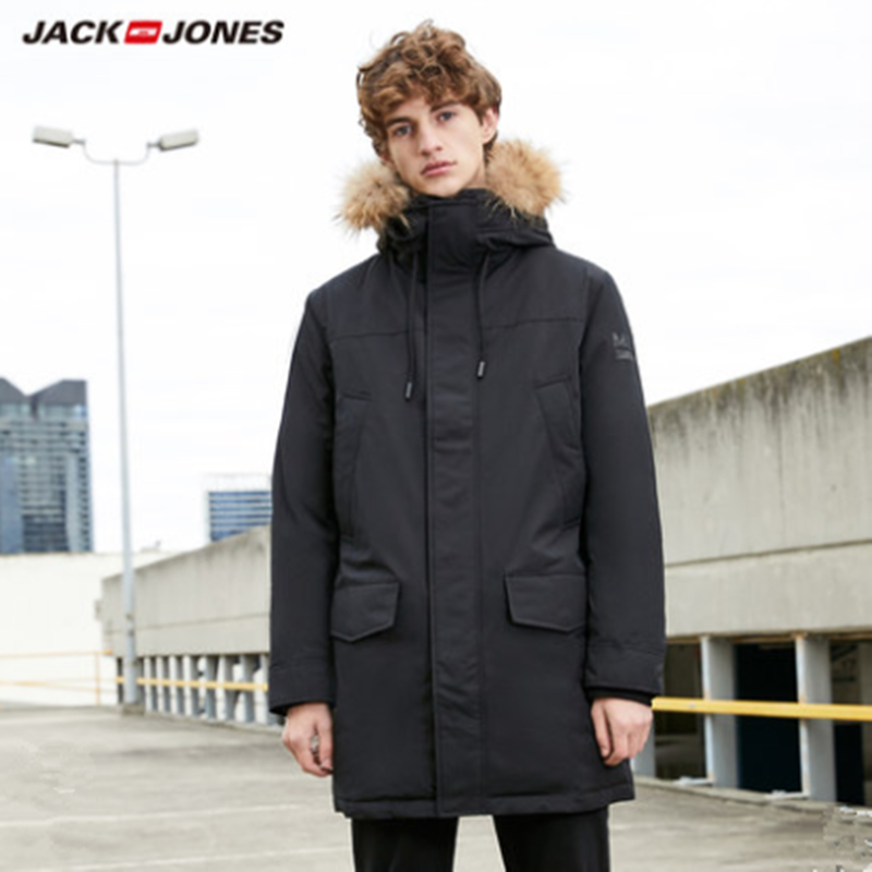 Mlmr jaqueta de inverno para baixo gola de pele com capuz longo hoodie outerwear casaco parka jackjones masculina marca 218312517
