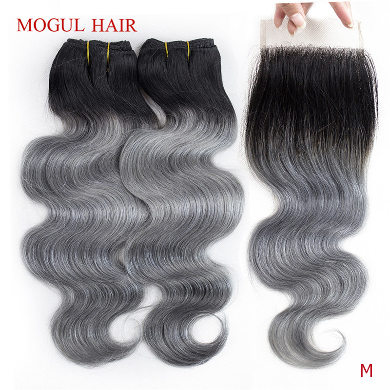 MOGUL HAIR T 1B Dark Grey Ombre Human Hair 2/3 Bundles With Closure Peruvian Body Wave Remy Hair Weave Extension Short Bob Style