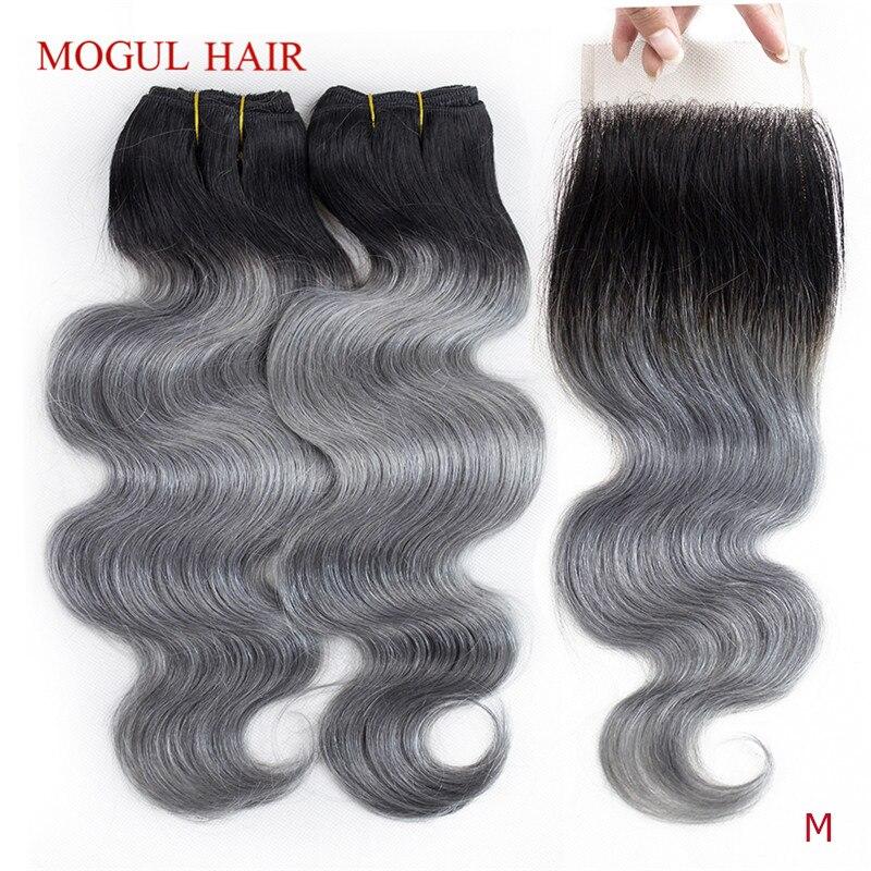 MOGUL HAIR T 1B Dark Grey Ombre Human Hair 2/3 Bundles With Closure Peruvian Body Wave Remy Hair Weave Extension Short Bob Style