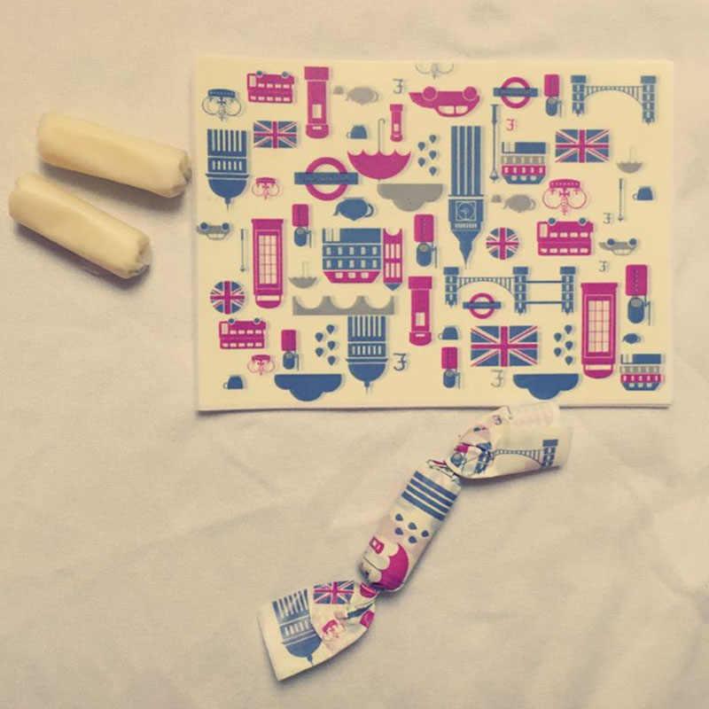 200 יח'\חבילה עטיפת ממתק אנגליה עיר בניין דפוס תוצרת בית DIY אריזת סוכריות המפלגה מתפתל שעוות נייר ממתקי שמן נייר