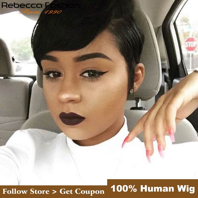 Rebecca Pixie Cut Wigs Short Straight Hair Wig Peruvian Remy Human Hair Wigs For Black Women Brown Red Mix Color Free Shipping