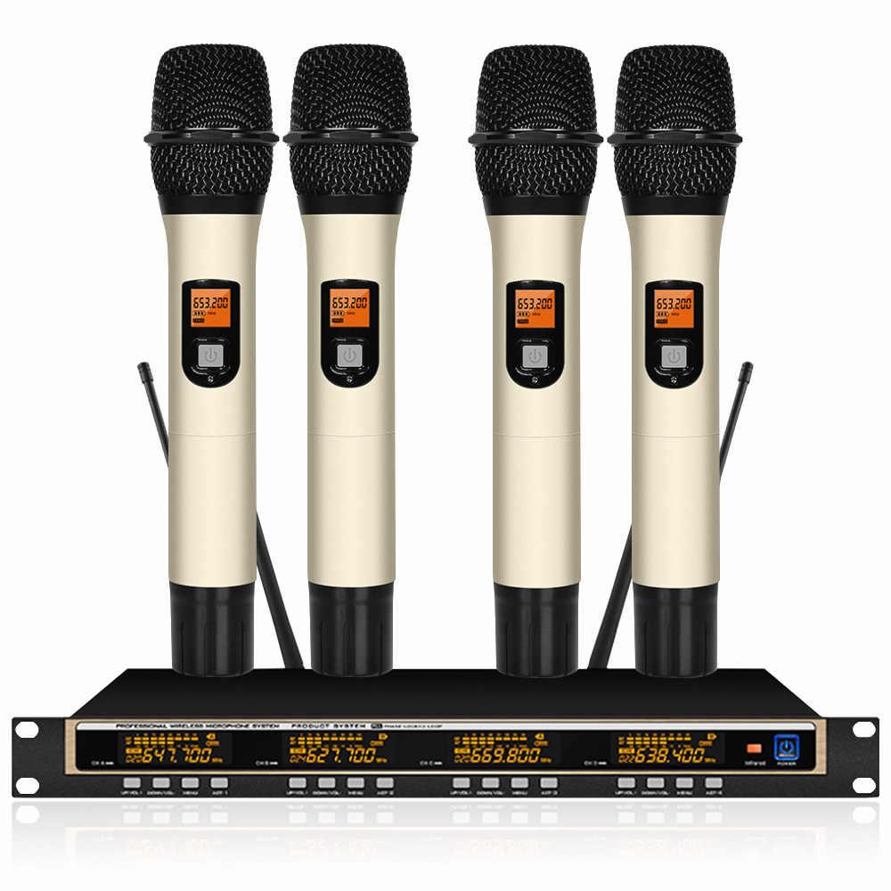 ワイヤレスマイクの uhf 調整可能な周波数 4 チャンネル 4 ハンドマイクステージパフォーマンスホーム ktv カラオケマイク