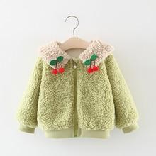 Winter New Baby Girls Coat Cute Cherry Soft Comfortable Warm Jacket