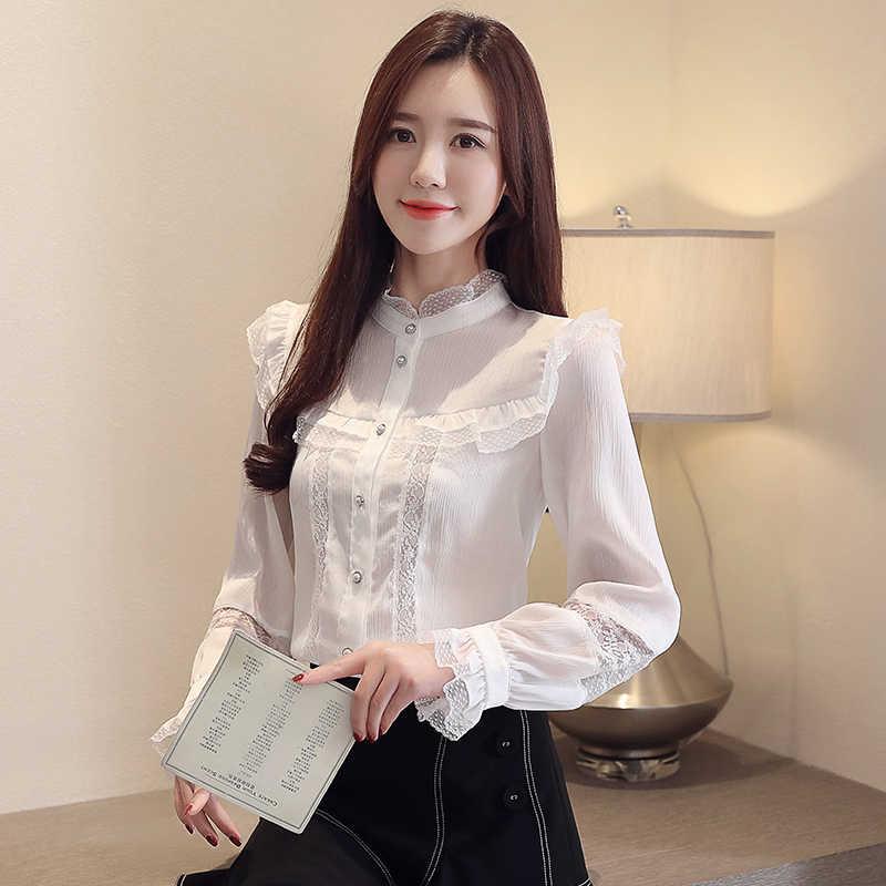 קוריאני אופנה שיפון נשים חולצות סתיו תחרה לבן נשים חולצות בתוספת גודל XXL Blusas Femininas Elegante גבירותיי חולצות