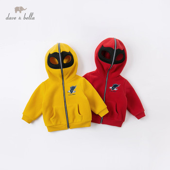 DB15568 dave bella autumn baby unisex fashion cartoon zipper pockets hooded coat children tops infant toddler outerwear image