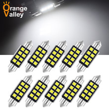 10 pces c5w led canbus 31 36 39 41 mm festão c10w lâmpada led 2835 8 smd 12v lâmpada de leitura luz interior do carro branco erro livre