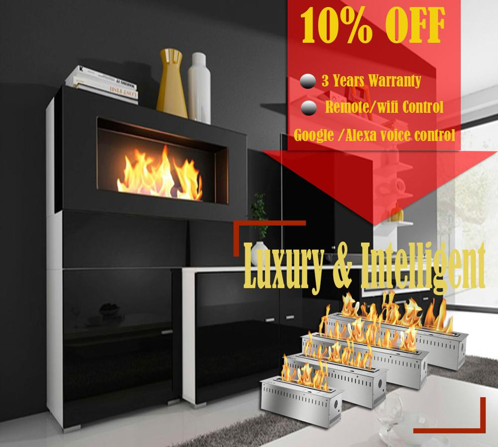 On Sale 48'' Indoor Stove Intelligent Bio Ethanol Chimney Remote Fireplace