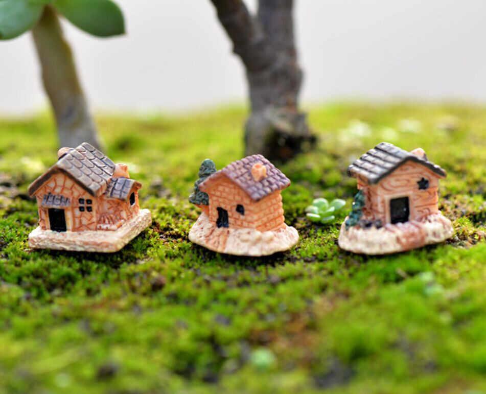 Mini Rumah Boneka Rumah Batu Resin Dekorasi untuk Rumah dan Taman DIY Mini Kerajinan Cottage Pemandangan Taman Dekorasi Acak Warna