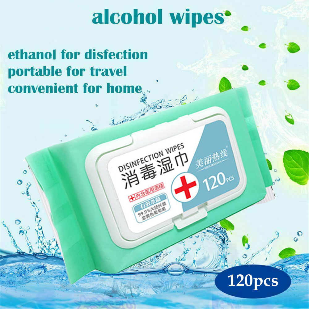 120 Pcs Disposable Disinfection Wipes Alcohol Disinfection Cotton Piece Cleaning Wipes Tableware Toy Disinfection Cotton Pads