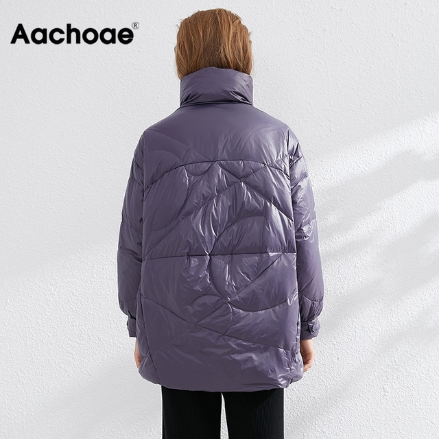 Aachoae Pure Winter Lightweight Down Jacket Women Thick Warm Batwing Long Sleeve Loose Doudoune Pocket Ultra Light Duck Down 5
