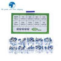 100 unids/caja RM065 de película de carbono Trimpot Horizontal potenciómetro Kit de surtido de 10 valores resistencia Variable 500R - 1M