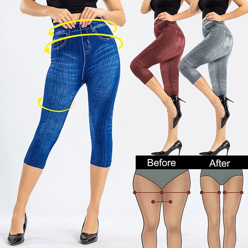 3/4 Leggings Women High Waist Elastic Slim Jeans Leggings Capri Pants Jeggings Female Short Leggings 2020 24