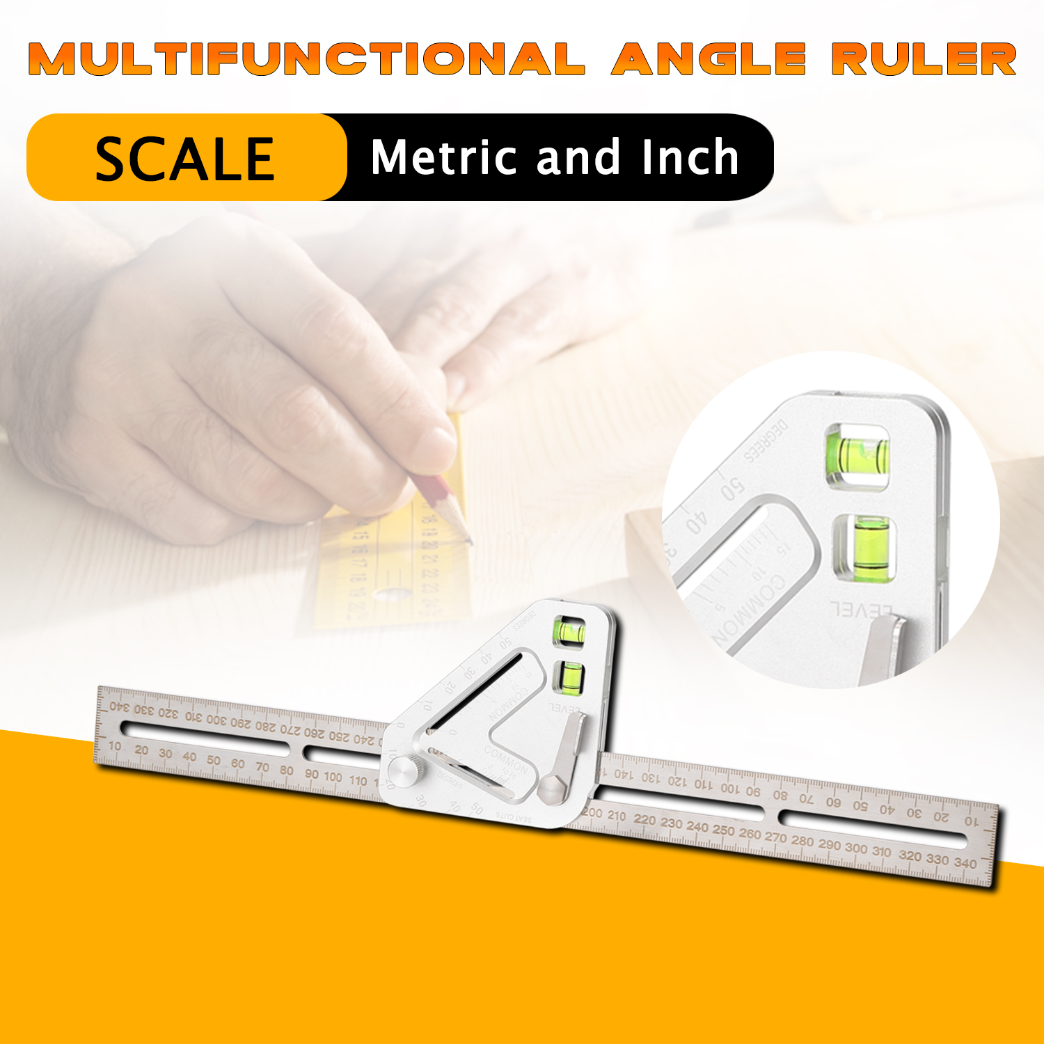Multifunctional Woodworking Triangle Angle Ruler Revolutionary Carpentry Tool US