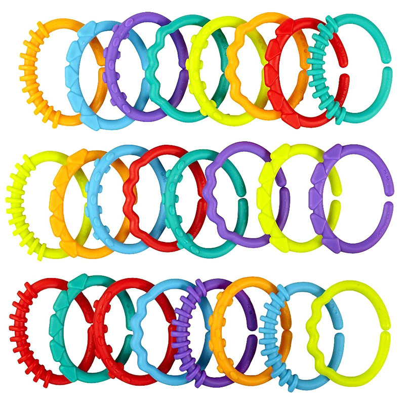 24pcs Children Kids Baby Teether Rainbow ABS Ring Links Infant Stroller Gym Play Mat Toys EIG88