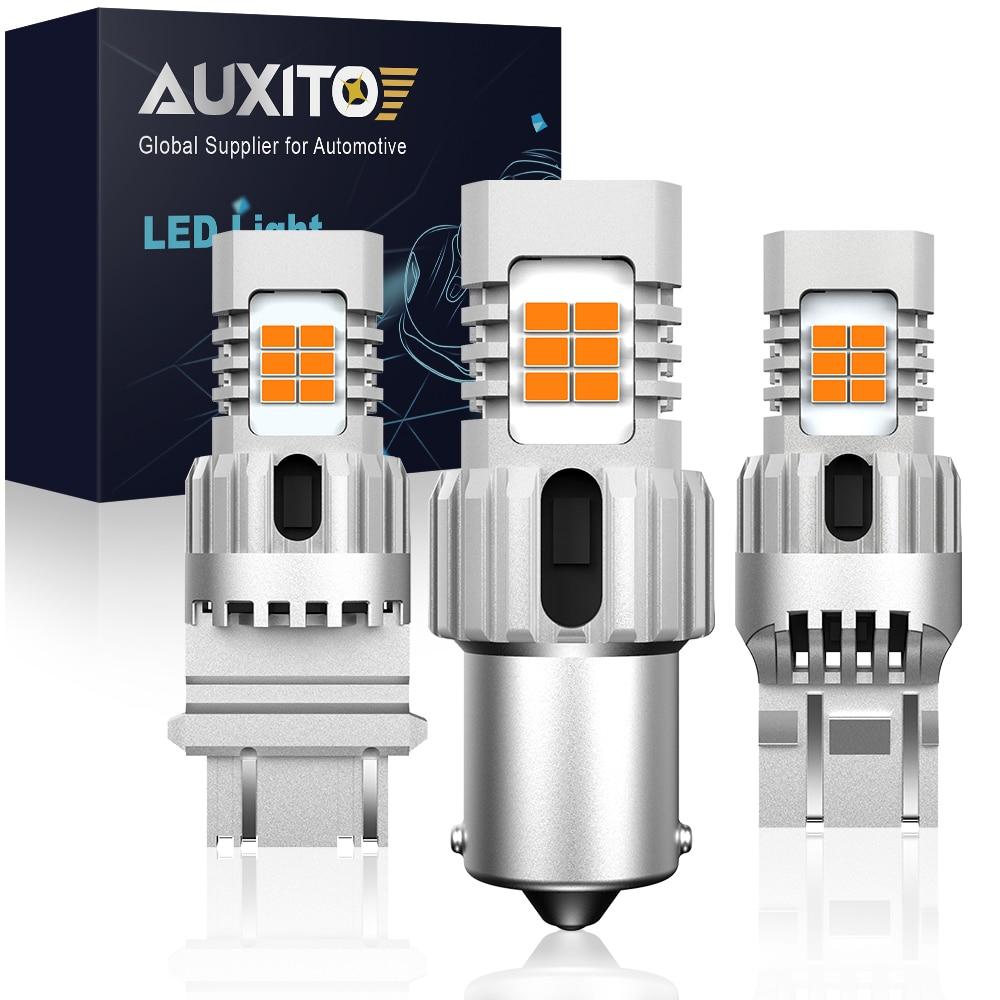 AUXITO Car 7440 LED No Hyper Flash Amber Yellow 24SMD 3020 LED T20 W21W 1156 BA15S 7443 1157 3157 LED Bulbs Turn Signal Lights