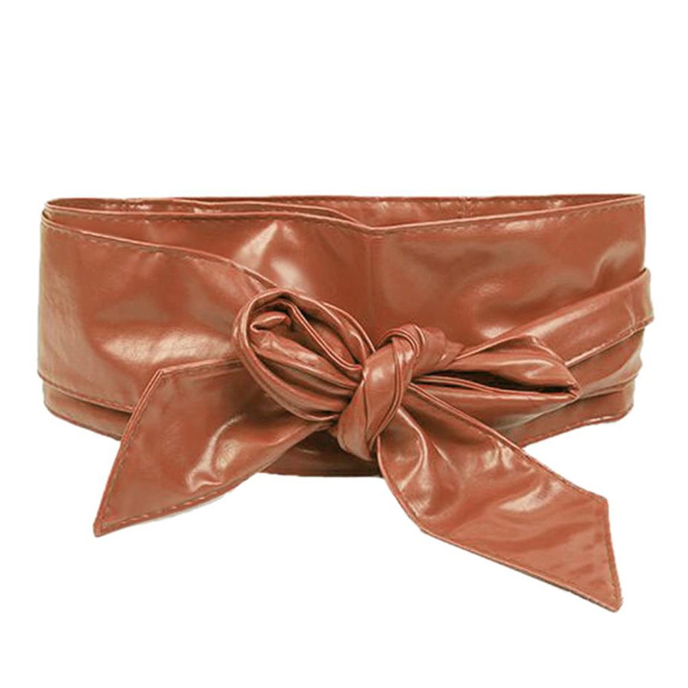 Fashion Women Soft Leather Wide Waist Belt Bow For Dress Clothes Accessories Waistband Solid Color Girdle Trendy Female Belt