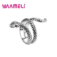 Vintage Statement Snake Rings 925 Sterling Silver Anillos Party Jewelry Gifts for Women Men Couples Hot Sale Fashion Accessory
