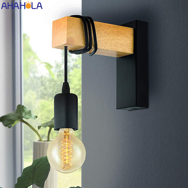Iron Wood Nordic Black E27 Wall Light Fixture Lampara Pared Stairs Led Light Lamps for Home Lampara De Pared