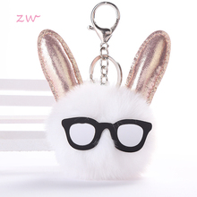 Cute Rabbit Ear Hair Ball Plush Keyring Key Chain Buckle Fluffy Faux Fur Bag Charm Pendant Gift For Women Accessory