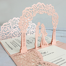 3D Pale Pink Wedding Invitations with RSVP Cards, Unique Invite Cards - Set of 50 pcs rsvp