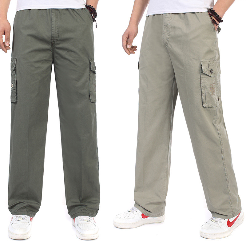 Spring And Autumn Middle-aged MEN'S Trousers Casual Straight-Cut Pants Plus-sized Pants Bib Overall Autumn